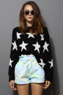 Shredded Stars Print Black Sweater via Chicwish